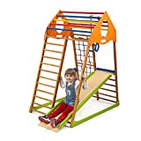 Wooden Playgrounds'Kindwood' Home Gymnastic, Wood Indoor Jungle Gym Sets, Climbing Kids, Indoor Children Playground, Baby Play Area Complete with Climbing Ladder Slide Rings & Swing, Sport