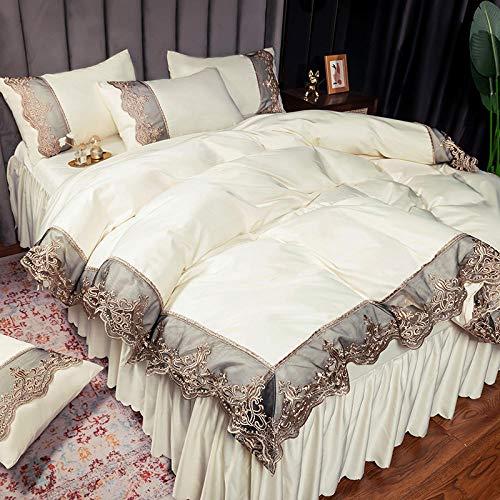 juego de funda de edredón doble,El lecho de seda de lavado de agua de dos caras de verano es conjunto de ropa de cama de cuatro piezas de Princess-Esconder_Conjunto de 1.8m4: Aplicable 200x230 Core