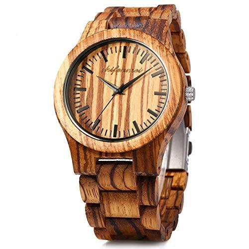 Holzuhren für Männer, Shifenmei Holzuhren natürliche handgemachte Analog Quarz japanische Uhrwerk und Batterie verstellbar Holz Armband leichte Holzuhren mit Exquisite Box (Zebra Wood)
