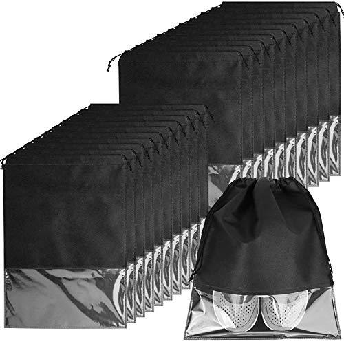 20er Schuhbeutel, Wasserabweisend Schuhtasche Staubdicht Schuhsack Stoffbeutel mit Zugband/Transparente Fenste, Ideal für Reisen oder Zuhause-Aufbewahrung, 32 * 44cm, Schwarz