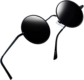 Joopin サングラス 丸型 偏光 ファッション丸メガネ UV400保護 紫外線カット 軽量 ケース付き