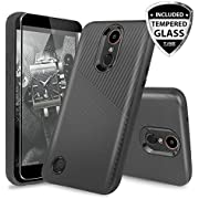LG K20 Plus Case, LG K20 V Case, LG Harmony Case, with TJS [Full Coverage Tempered Glass Screen Protector] Ultra Thin Slim Hybrid Shockproof Impact Rugged Case Armor Cover