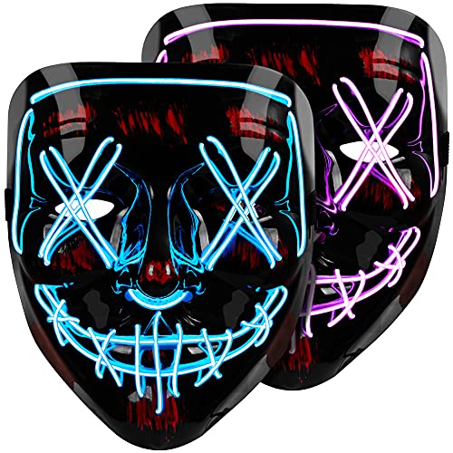Halloween Mask LED Light Up Mask (2 Pack) Purge Mask, Scary Mask for Halloween Festival Party – Blue & Purple