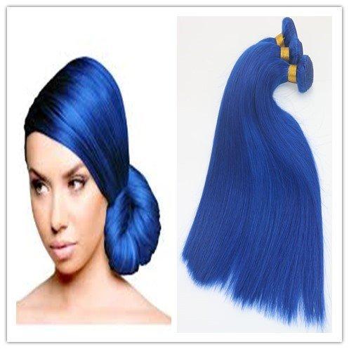 Tête entière Trame de cheveux raides et soyeux 100 g/Bundle Longueur 35,6 cm 40,6 cm 45,7 cm 50,8 cm 55,9 cm 61 cm Extensions de cheveux – Couleur Bleu foncé