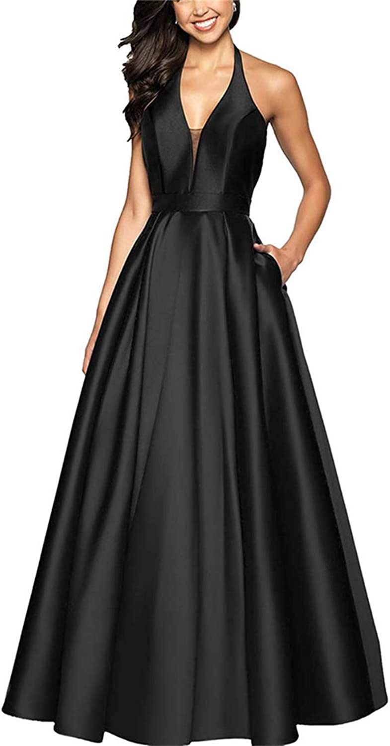 Stylefun Women's Aline Halter Floor Length Prom Dress Long Formal Evening Gown with Pockets XIN038