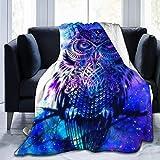 Lawenp Manta de Felpa de Felpa de Terciopelo de Franela de Manta de Felpa Ultra Suave de búho Azul