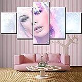 Cuadros Modernos Impresión de Imagen Digitalizada,Rostro de mujer Cuadro En Lienzo 5 piezas de arte,para decoración Moderna para Oficina el hogar,regalo 200x100 cm(Sin Marco)
