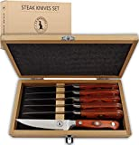 Steak Knife Set in Gift Box 6 Full Tang High Carbon Stainless Steel Micro Serrated Knives Classic Dark Brown Ergonomic Pakkawood Handles Luxury Beech Wood Case Premium Deluxe Birthday Gift Idea