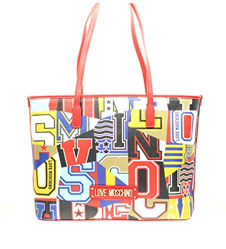 Moschino BORSA SHOPPING LOVE ECOPELLE SAFFIANO GRAPHIC ALPHABET...