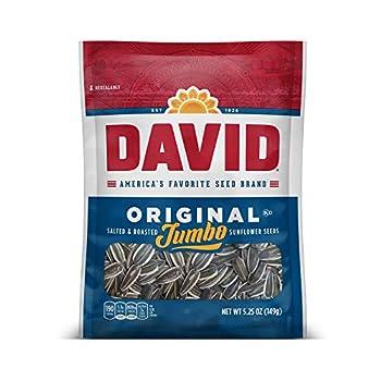 DAVID SEEDS Roasted and Salted Original Jumbo Sunflower Seeds Keto Friendly 5.25 Oz 12 Pack