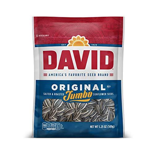 DAVID SEEDS Roasted and Salted Original Jumbo Sunflower Seeds, Keto Friendly, 5.25 Oz, 12 Pack