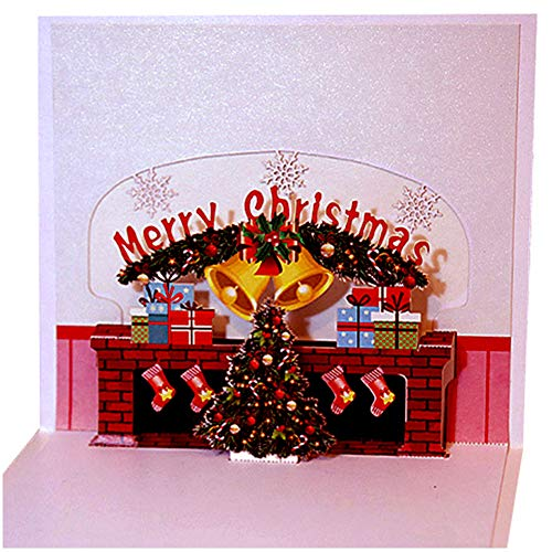 Christmas 3D Pop Up Card, Christmas Tree Greeting Cards, Greeting Handmade Holiday Xmas Cards & Envelopes for Xmas/New Year (Fireplace)