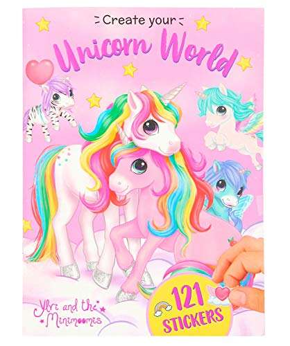 Depesche 11422 Stickerheft Create your Unicorn World im Ylvi & the Minimoomis Design, ca. 18 x 24,5 cm groß, 20 Seiten mit zauberhaften Hintergrundmotiven und zahlreichen Stickern zum Verzieren