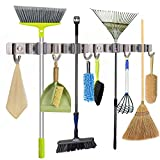 Mop Broom Holder Wall Mounted Stainless Steel Long-Term Use 11Inch Cleaning Tool Organizer 2Packs with 4 Clips & 6 Hooks for Home Garage Garden Tool Storage