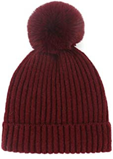 Daqin Wool Knit Hat Parent-Child Hat Wool Knit Imitation Rabbit Hair Ball Warm Headgear (Color : Claret, Size : Adult)