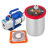 Bestauto 3 Gallon Vacuum Chamber 4 CFM Vacuum Pump Single Stage Pump 3-Gallon Silicone Expoxy Degassing Kit