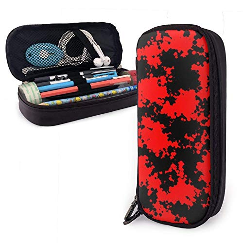 Astuccio in pelle Camo - Red and Black Pu Leather Pencil Case with Zipper Closure Big Capacity Carrying Case for School Office