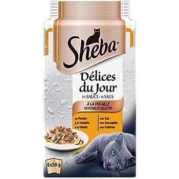 Sheba Délices du Jour – Nourriture humide pour chat adulte - sélection à la volaille en sauce – Sachets fraîcheur 72 x 50g