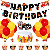 Fire Truck Birthday Party Supplies Fireman Banner Cake Topper Firefighter Cupcake Toppers and Wrappers Latex...