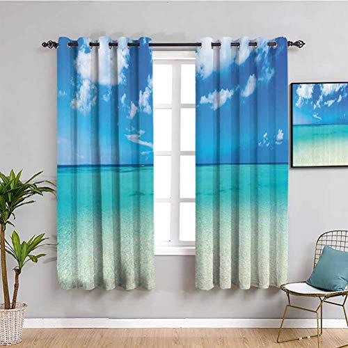 Tropischer Wärmedämmungsvorhang Paradies Ocean Dreamy Sea Vacation Serene Summer Exotic Relax Summer Picture Waterproof Fabric Turquoise Blue W42 x L63 Zoll