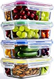 Glass Meal Prep Containers - 4-Pack 35 Oz. 3 Compartment Bento Box Lunch Containers |...