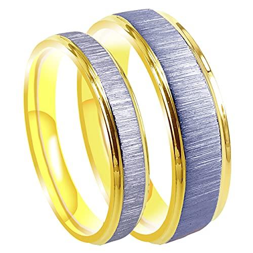 Everstone Su & Ella Hombres & Mujeres Novio & Novia a juego anillo de titanio Set Mate & Cepillado 18K Amarillo Oro Color Anillo Plano 6MM 4MM Reino Unido Tamaño G a Z7