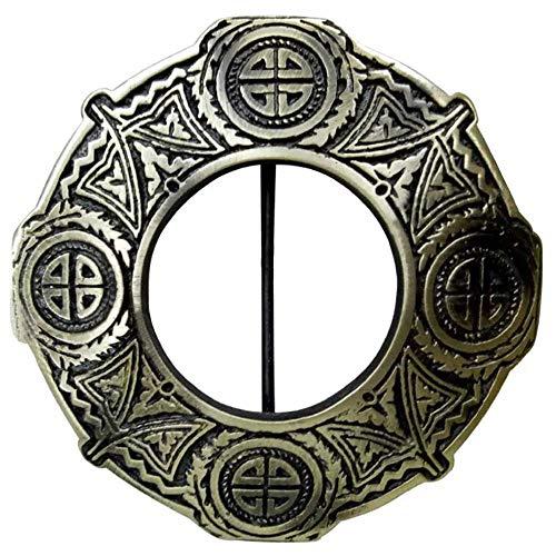 Scottish Kilt Fly Plaid Brooch Antique Finish Celtic Knot