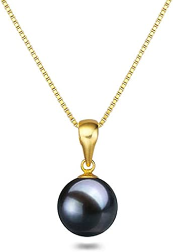 Black Japanese AAAA 6-11.5mm Freshwater Cultured Pearl Pendant Necklace 16″/18″ Solitaire Necklace Pendant