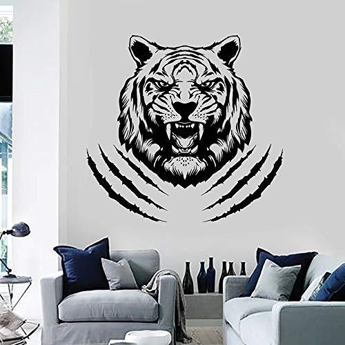 mlpnko Aggressive Tiger Wandtattoo Stammes Raubtier Tier Kopf Tür Fenster Aufkleber Vinyl dekorative Wandbild,CJX11207-63x66cm