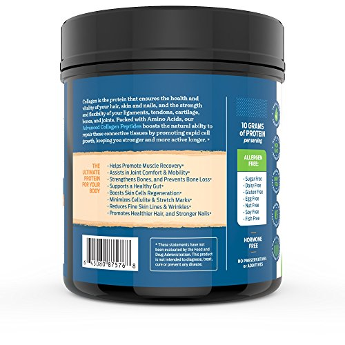 51ShtvF+RZL - Advanced Hydrolyzed Collagen Peptides - Unflavored Protein Powder - Mixes Into Drinks and Food - Pasture Raised, Grass Fed - for Paleo and Keto; Joints and Bones - 41 Servings Collegen