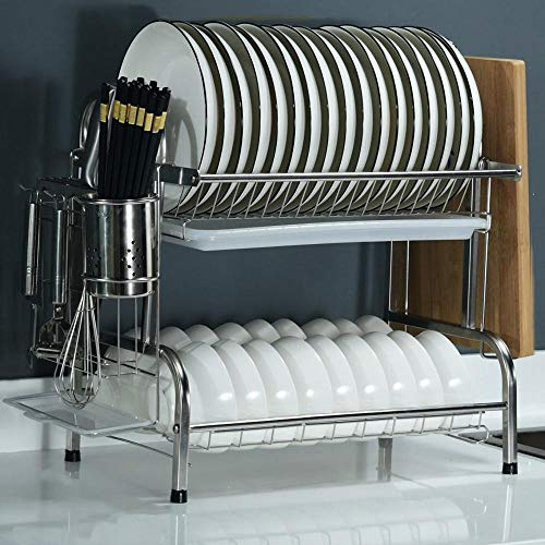 2 Tier Stainless Steel Drying Rack Over Sink with Drip Tray,42.3x25.5x40.5cm / 16.7x10x16in,Silver Kitchen Organiser Rack for Kitchen Extra Draining
