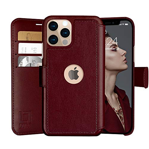 LUPA iPhone 12/12 Pro Wallet Case -Slim iPhone 12/12 Pro Flip Case with Credit Card Holder, for Women & Men, Faux Leather iPhone 12/12 Pro Purse Cases with Magnetic Closure, Burgundy