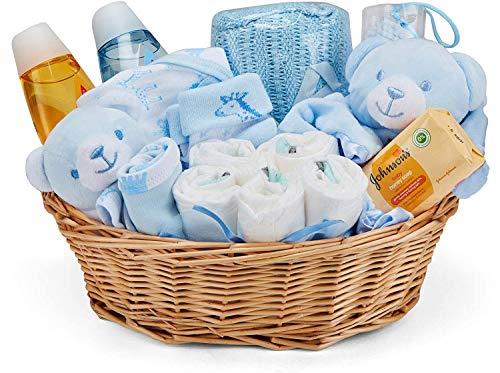 Baby Box Shop - Cesta regalo bebé niño con ropa de bebé - Artículos esenciales para niños recién nacidos - Manta de bebé - Doudou y sonajero de unicornio azul