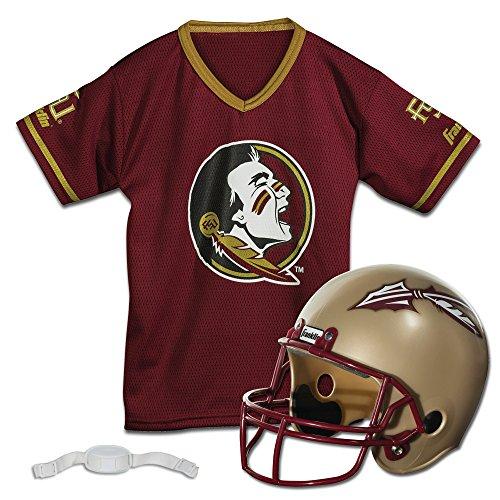 Franklin Sports Florida State Seminoles Kids College Football Uniform Set - NCAA Youth Football Uniform Costume - Helmet, Jersey, Chinstrap Set - Youth M