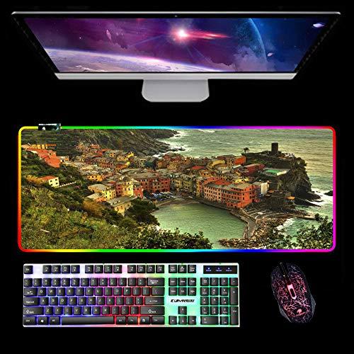 Alfombrilla de ratón Grande, RGB LED Gaming Mouse Pad COMPUTADORA COMPUTADORA A Prueba de Agua Estera de Escritorio de tamaño Mujer Madera DE Madera DE Play-Cinco terrenos-1 700x400x4 mm