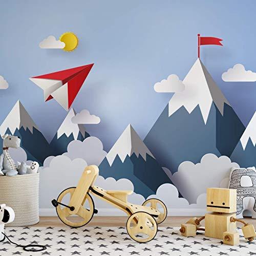 Tapete Fototapete Kinderzimmer 3D Papierflieger in den Bergen - Wall-Art - 288x260 c