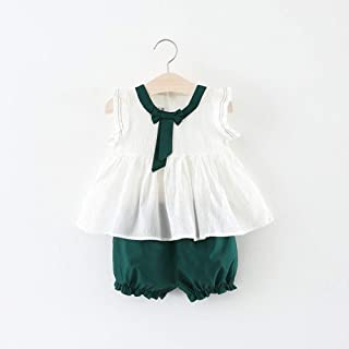 TZOU Girl Children Kids Cotton Sleeveless Bowknot Collar Tops+Shorts Two Piece Suit Outfit Green 80cm