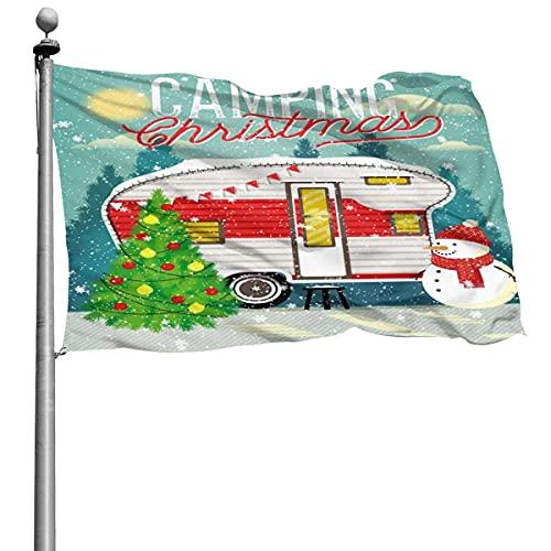 Vintage Xmas Travel Trailer Bandera de camping 4x6 Ft Bandera de poliéster cosida grande Bandera estándar colgante exterior para patio Jardín Césped Vacaciones
