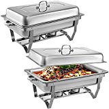 Mophorn 2 Packs Stainless Steel Chafing Dishes 8 Quart Full Size Pan Rectangular Chafer Complete Set Ideal for Buffet Wedding or Party