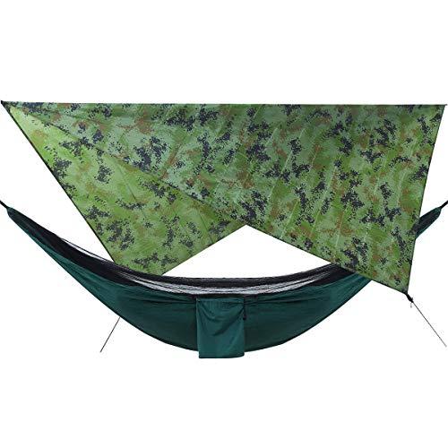 Ai-lir Fácil de Cargar Camuflaje Lluvia Volar Lona y acampación Hamaca con Hamaca portátil de mosquitero Hamcock Canopy 210T Tela a Cuadros PU 2000 Sun Shade Tent Twning para 2 Persona Ligero y Dura