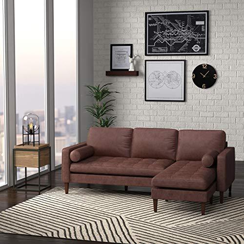 "Amazon Brand – Rivet Aiden Mid-Century Modern Reversible Sectional Sofa (86"") - Dark Brown Leather"