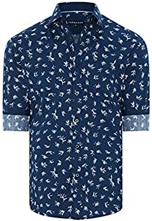 Tarocash Men's Rocco Floral Print Shirt Regular Fit Long Sleeve Sizes XS-5XL for Going Out Smart Occasionwear