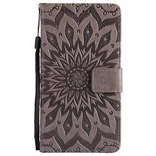Nokia 6 Hülle Case, Dfly Premium Slim PU Leder Mandala Blume prägung Muster Flip Handyhülle Standfunktion Kartenfach Brieftasche Schutzhülle Cover für Nokia 6, Grau