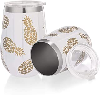 New Stainless Steel Stemless Wine Glass Tumbler with Lid,Diamond Design Stainless Steel Pineapple Printed, 12 Once