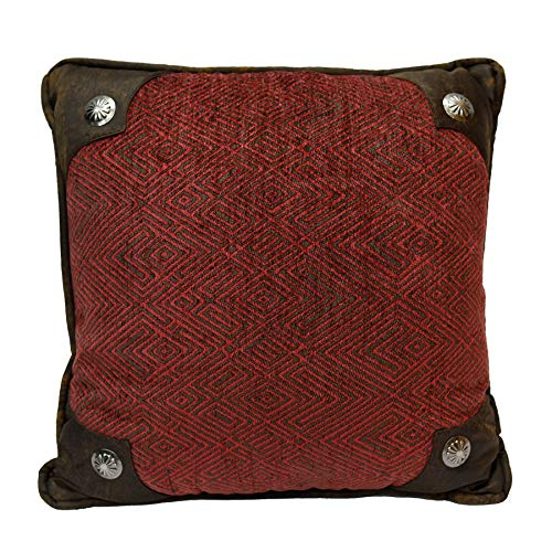 "HiEnd Accents Wilderness Ridge Lodge Chenille Throw Pillow w/Scalloped Concho, 1'6"" x 1'6"", Red"