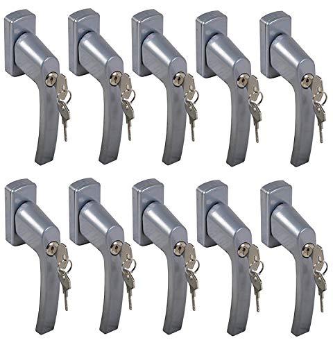 BURI 10x Fenstergriff abschließbar Sicherheitsfenstergriff Kindersicherung Silber Set