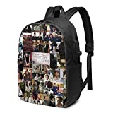 Vampire-Diaries Laptop Backpack with USB Charging Port, College School Bookbags 17 Inch Travel Backpack for Women Men Student