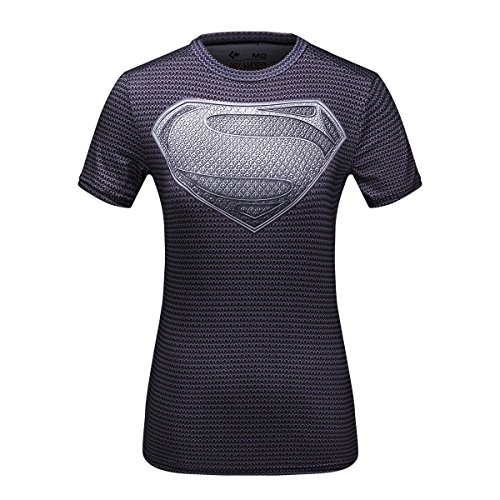 CODY Lundin® Damen 3D Digital Printed Superheros, GAP Amerika, Laterne Corps kurz Sleeve Shirt Fitness Running Yoga Kompression Tops, damen, Black Superman