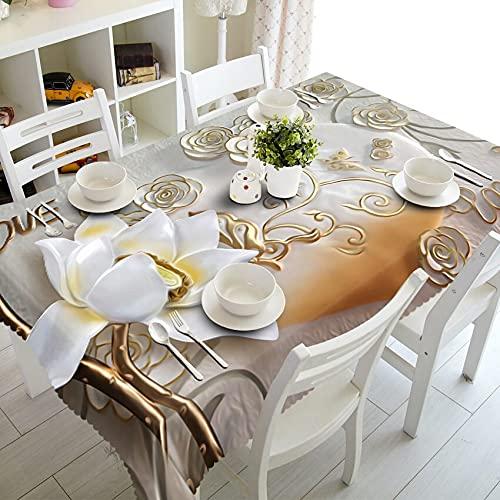XXDD Mantel Rectangular Tallado 3D Mantel de Boda Lavable a Prueba de Polvo Mantel Textil para el hogar A2 140x200cm