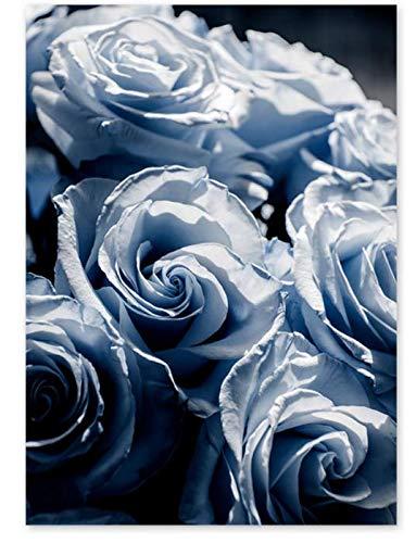 H/L Simple White Rose Fern Leaf Plant Poster Oil Painting Landscape Retro Diy Home Living Room Bar Decoration Mural Frameloos 40X50Cm M3105